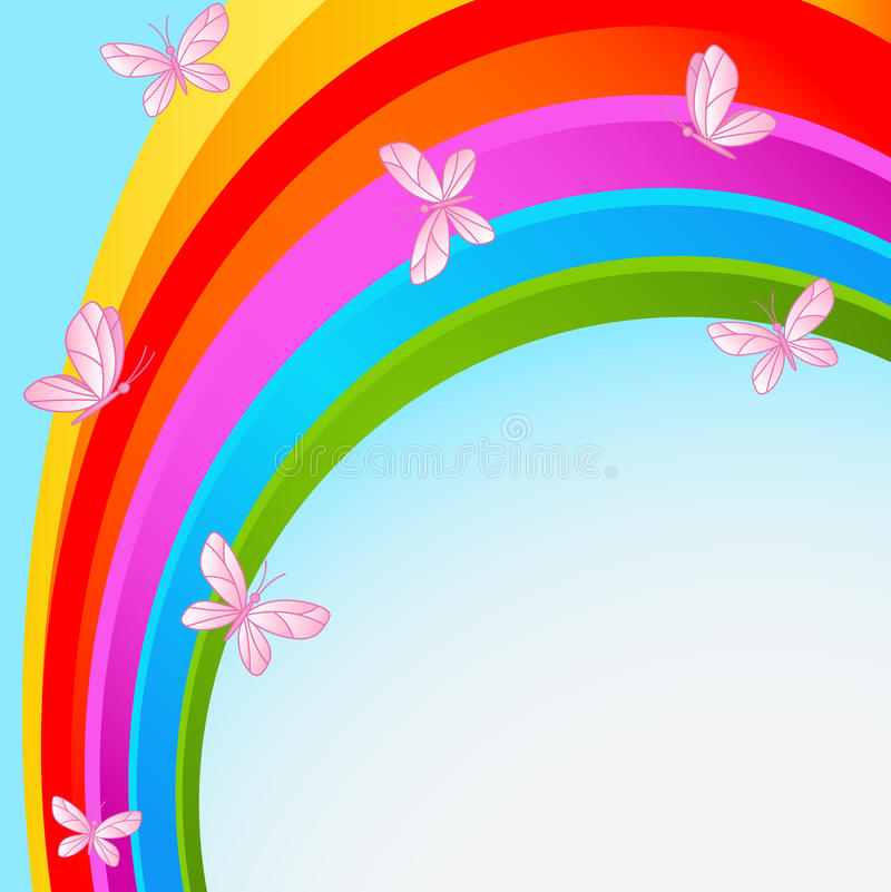 Rainbow sky with butterfly. Flying butterflies against the backdrop of the cloudless sky with rainbow royalty free illustration