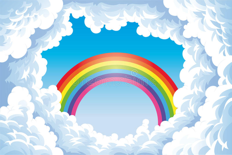 Rainbow in the sky with clouds. royalty free illustration
