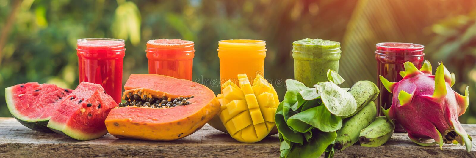 Rainbow from smoothies. Watermelon, papaya, mango, spinach and dragon fruit. Smoothies, juices, beverages, drinks stock photography