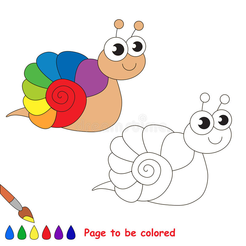 The Rainbow Snail Cartoon. Page To Be Colored. Stock ...