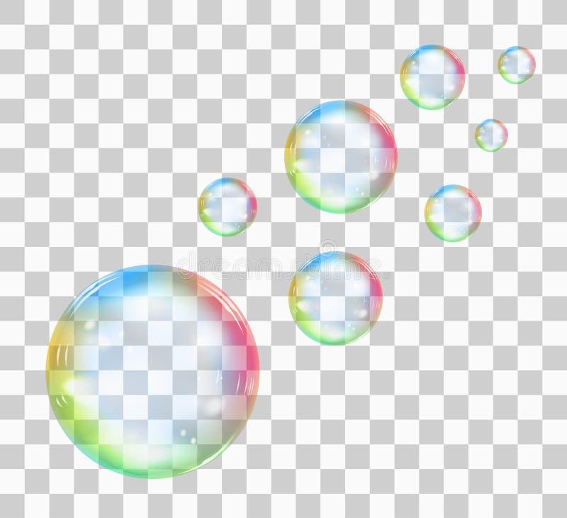 Rainbow soap bubble on a transparent background. Vector illustration stock illustration