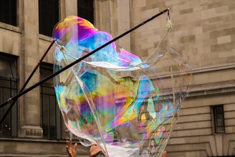 Rainbow soap bubbles stock image