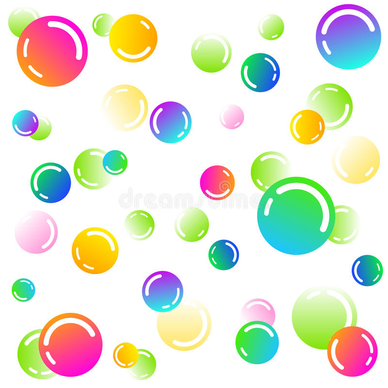 Rainbow soap bubbles - vector pattern on white background royalty free illustration