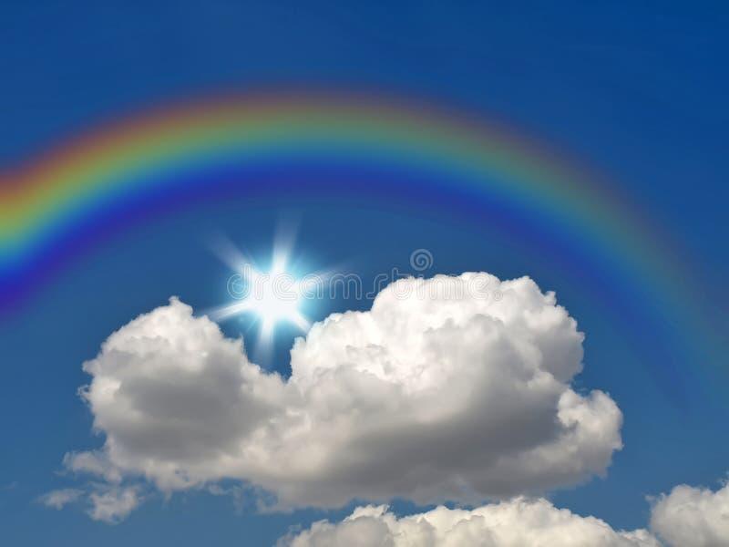 Rainbow, sole e nube fotografia stock