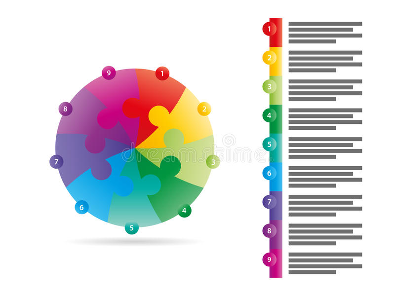 Rainbow spectrum colored nine sided arrow puzzle presentation infographic vector graphic template with explanatory text field royalty free illustration