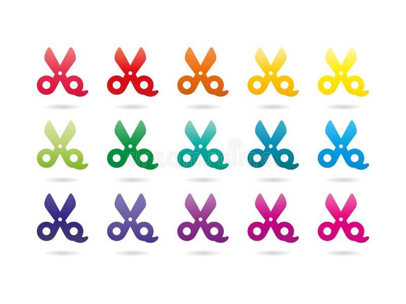 Rainbow spectrum colorful scissors. Set of rainbow spectrum colorful scissors. Vector graphic template. Isolated on white background stock illustration