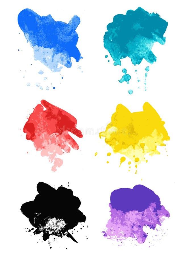 Rainbow splash watercolor paint splatters vector illustration