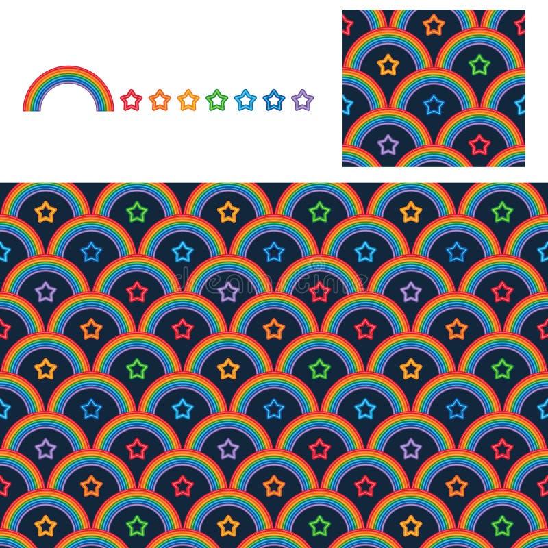 Rainbow star neon symmetry half style seamless pattern demo stock illustration