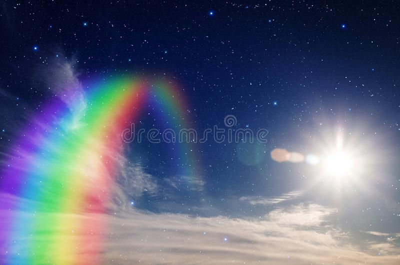 Rainbow with star and sun. Colorful rainbow in clouds with star and sun stock image