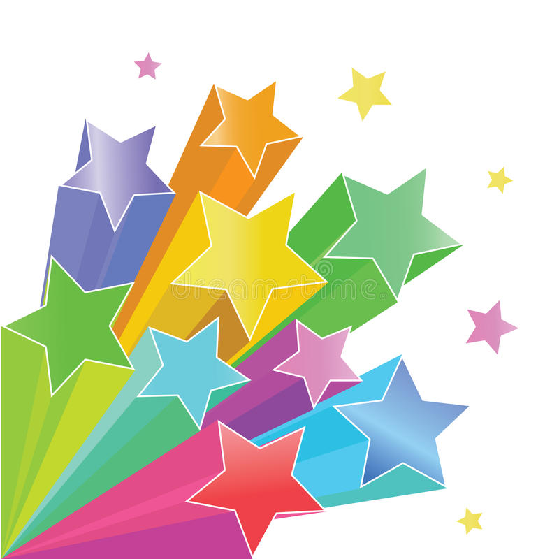 Rainbow stars. Stars 3d vector illustration rainbow color isolated on white background