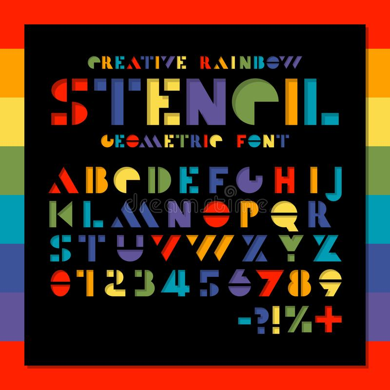Rainbow stencil geometric font. Color paper cut alphabet. Colorful hole letters and numbers sans serif. Creative design stock illustration