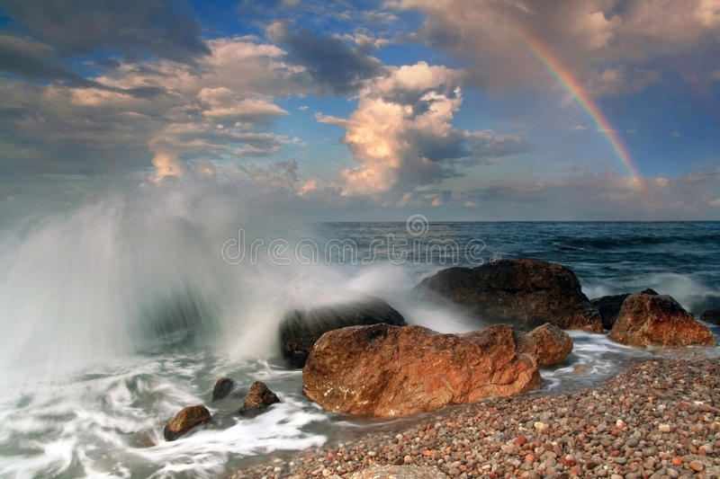 Rainbow during the storm royalty free stock photography