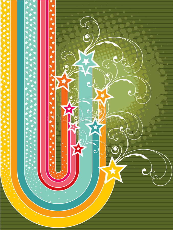 Download Rainbow Stripes Grunge Stars Stock Vector - Image: 3608020