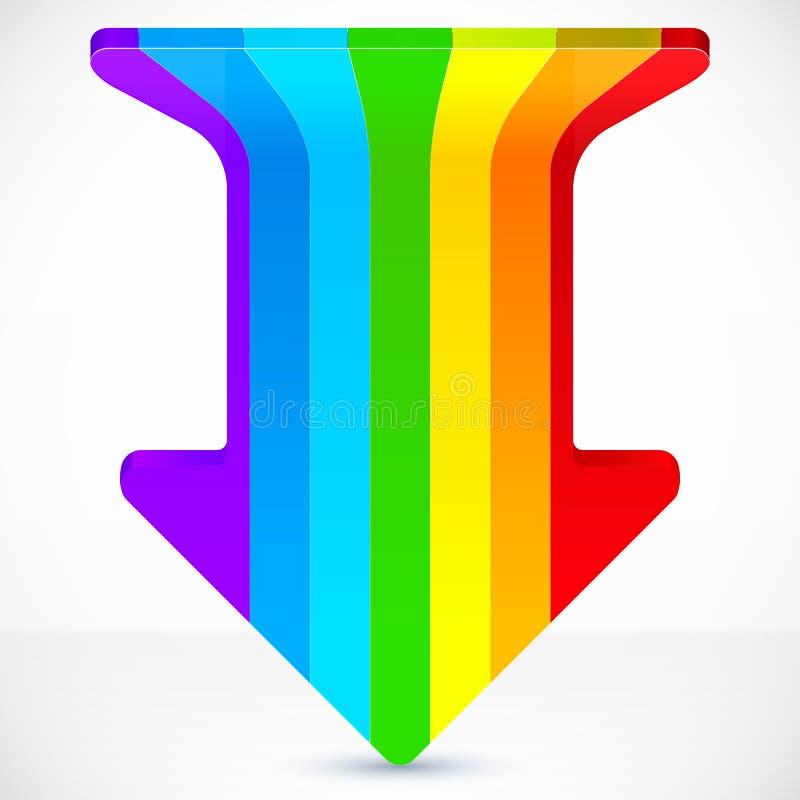 Rainbow stripes realistic plastic vector up arrow. Icon stock illustration