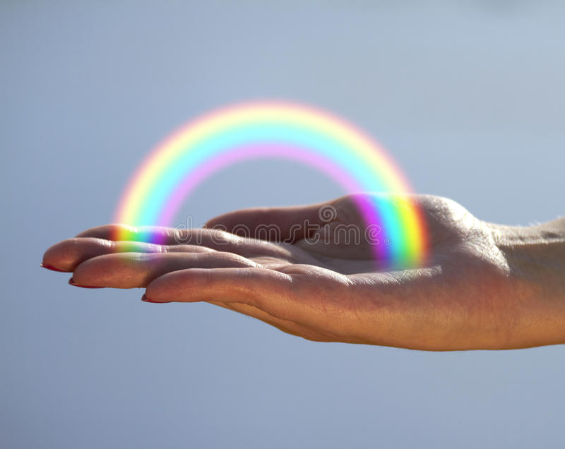 Rainbow sulla palma immagini stock