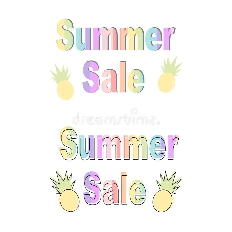 Rainbow summer sale vector banner set stock illustration