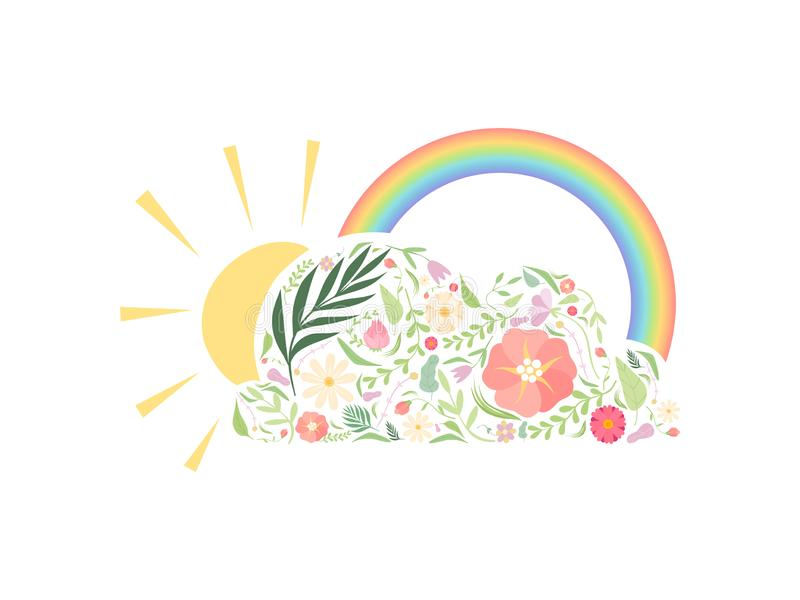 Rainbow, Sun and Cloud Made of Floral Seamless Pattern Vector Illustration stock illustration
