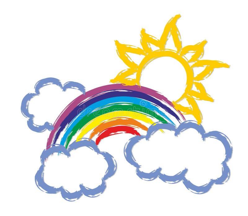 Rainbow with the sun. vector illustration
