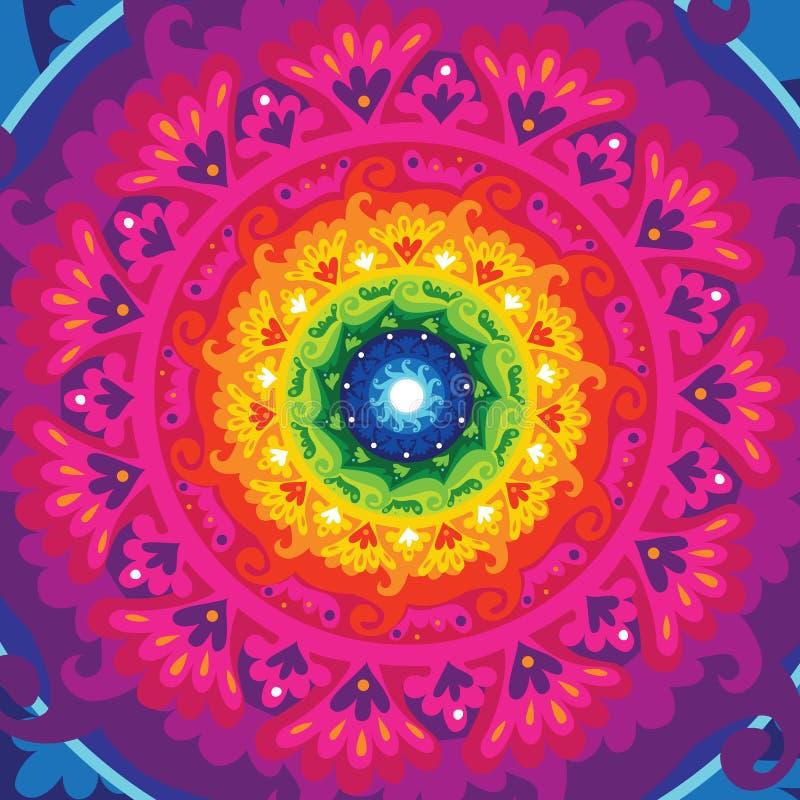 Rainbow sun mandala vector illustration