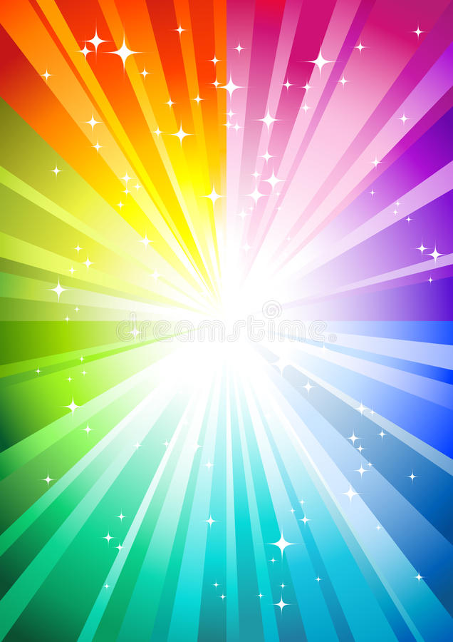Download Rainbow sunburst stock vector. Illustration of bright - 9448981
