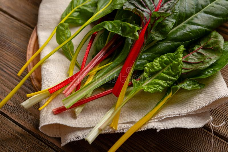 Rainbow swiss chard leaves. Food stock image