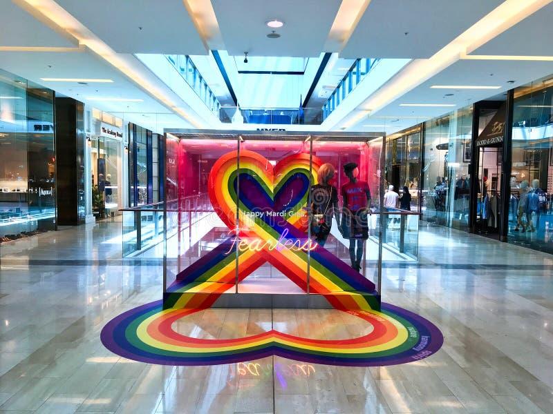 Rainbow Sydney Happy Mardi Gras Display in Shopping Mall, Sydney, Australia stock image