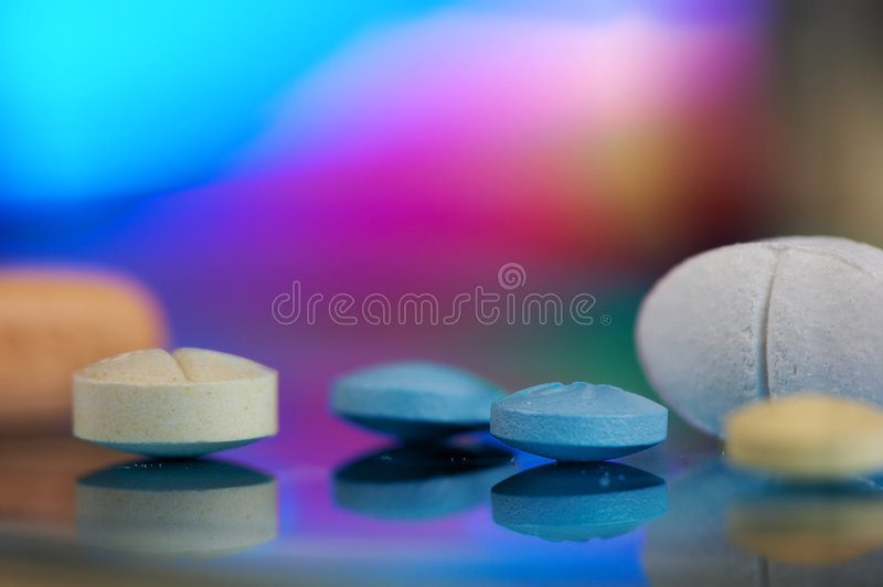 Rainbow tablets stock images