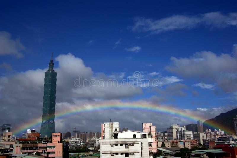 Rainbow and Taipei 101 royalty free stock photo