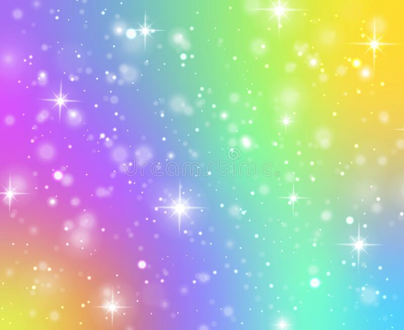 rainbow texture fantasy unicorn galaxy stars holographic sky bokeh iridescent gradient hologram glitter effect rainbow 174401261