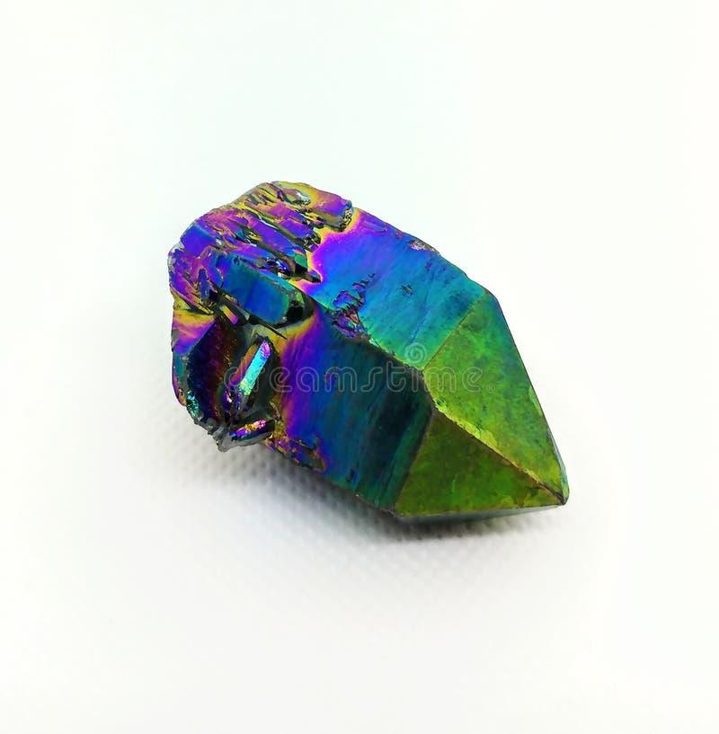 Rainbow titanium flame aura quartz crystal gemstone stock images