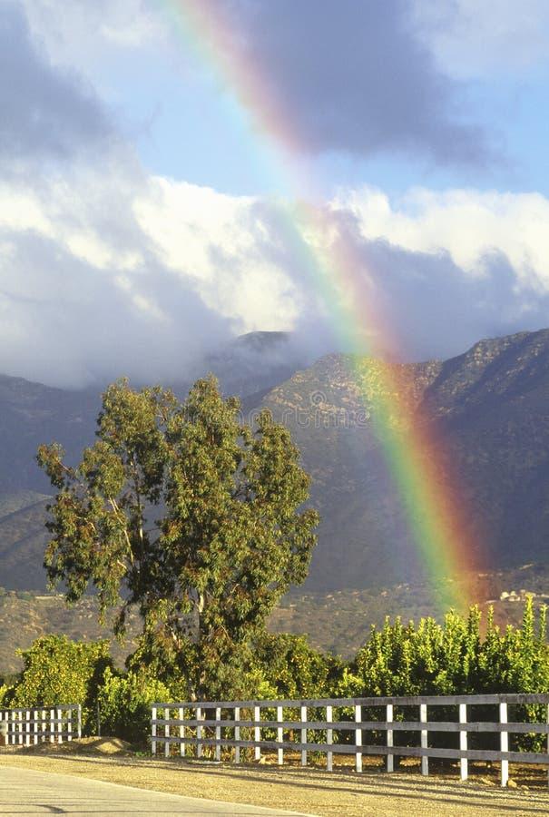 Rainbow and Topa Topa Mountains. Ojai, California stock photo