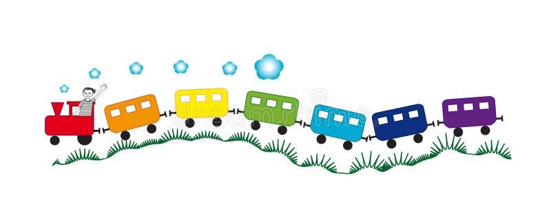 Rainbow train with a smiling boy royalty free illustration