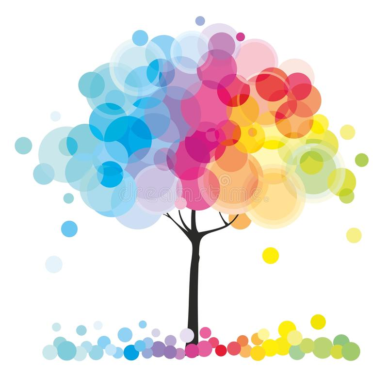 Download The rainbow tree stock vector. Image of seasons, floral - 21795625