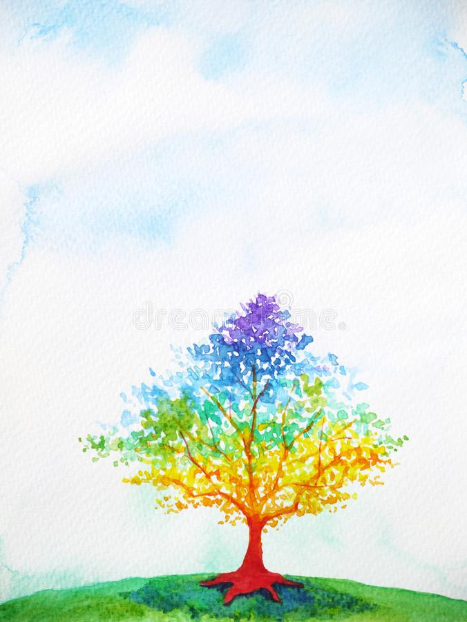 Rainbow tree color colorful watercolor painting illustration vector illustration