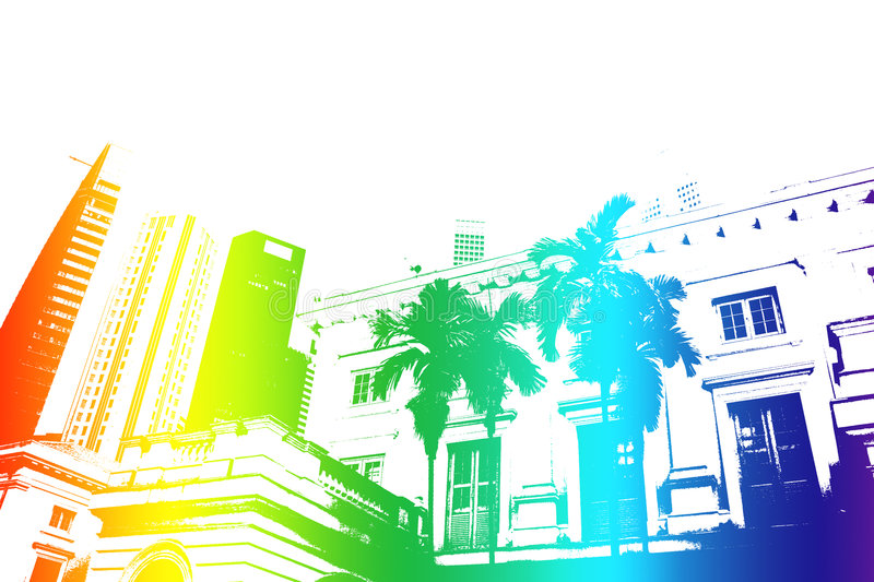 Download Rainbow Trendy And Modern City Life Abstract Stock Illustration - Image: 7472201