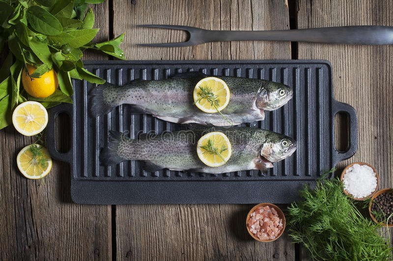 Rainbow Trout on Griddle royalty free stock photo