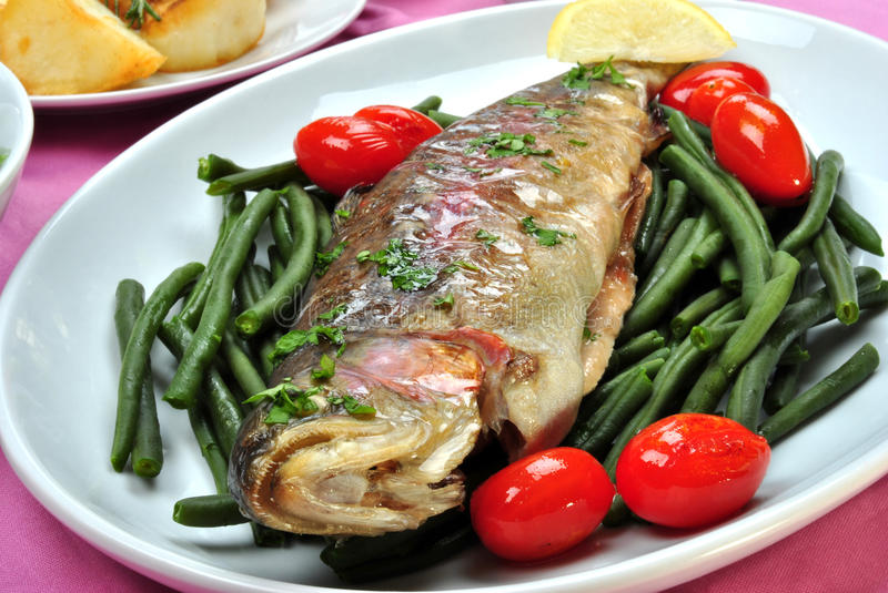 Download Rainbow Trout With Organic Green Beans Stock Photo - Image: 17127126