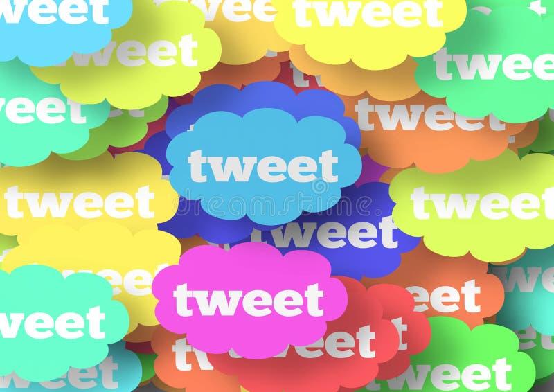 Rainbow Tweet Clouds royalty free stock photo