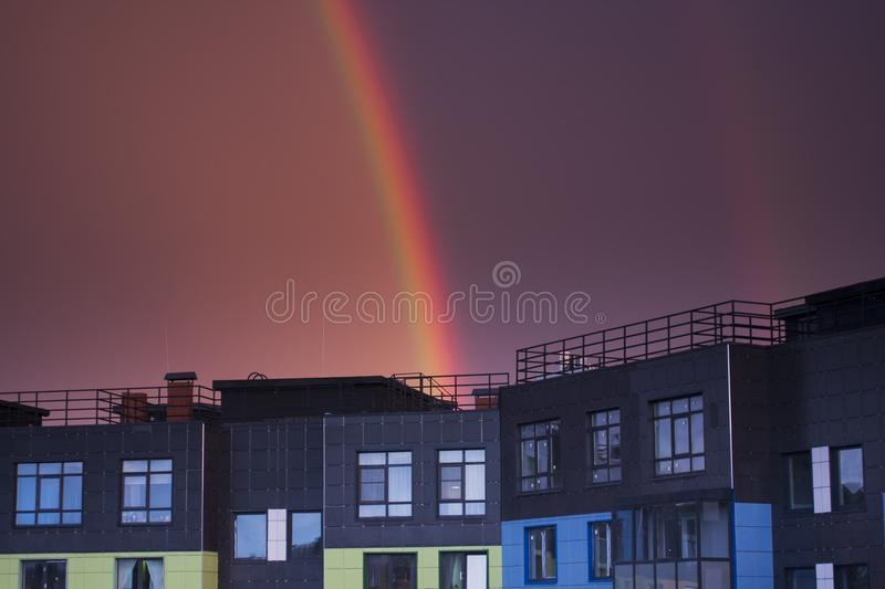 New appartment penthouse in night stock photos