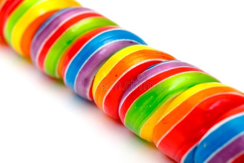 Rainbow Twirl Lollipop Candies Stock Photography