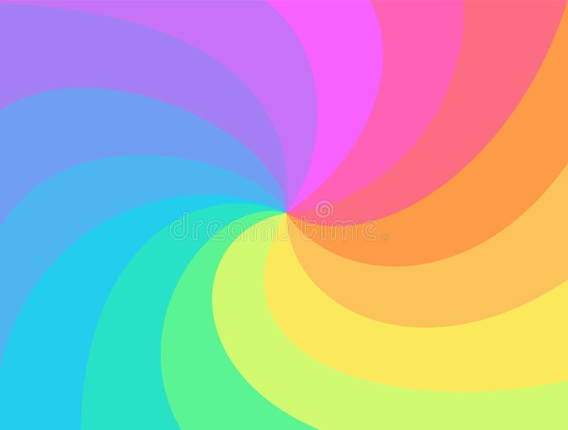 Rainbow twisted spiral background. vector illustration