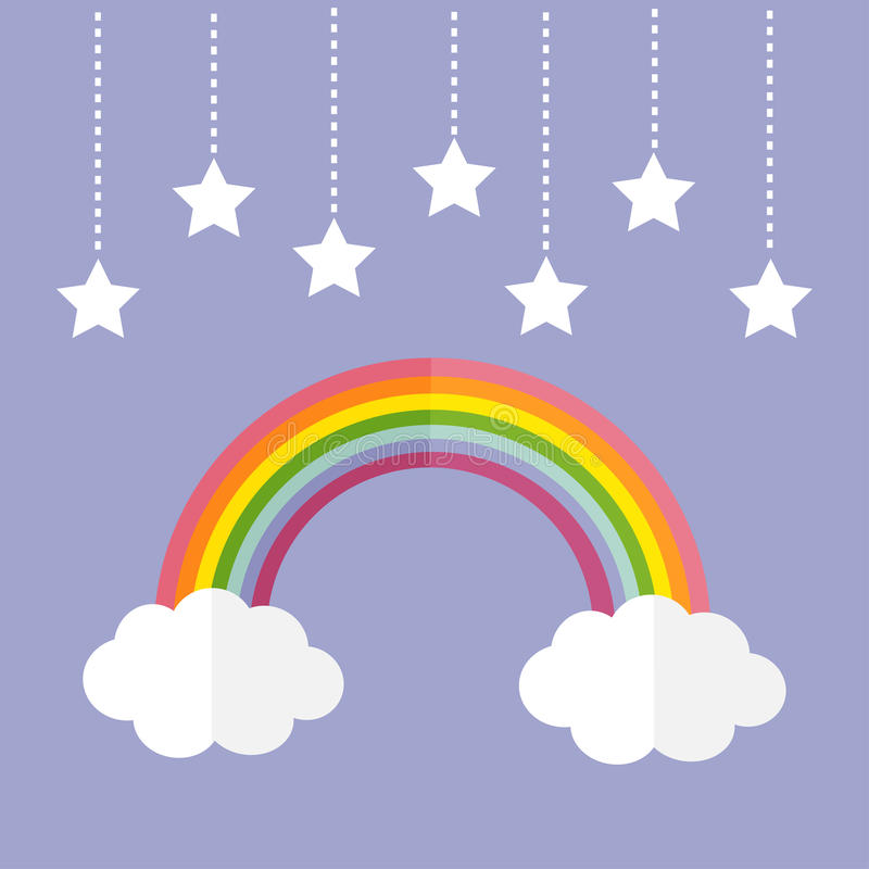 Rainbow and two white clouds. Colorful stars hanging on dash line rope. LGBT sign symbol. Flat design. Violet background. Vector illustration royalty free illustration