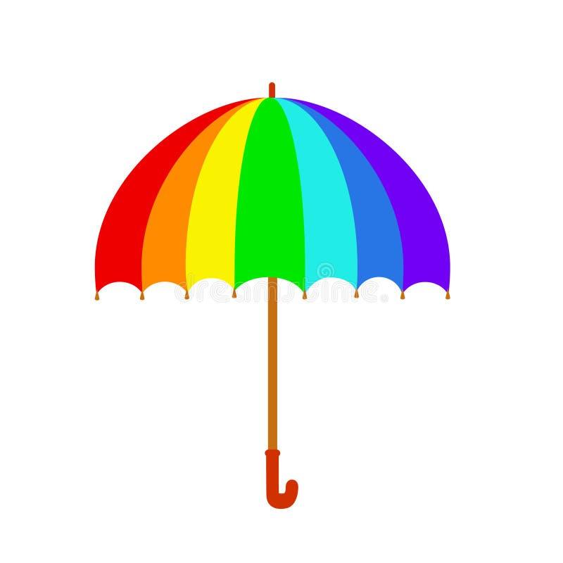 Rainbow umbrella icon. Colorful umbrella isolated on white background. Stock vector in cartoon style royalty free illustration