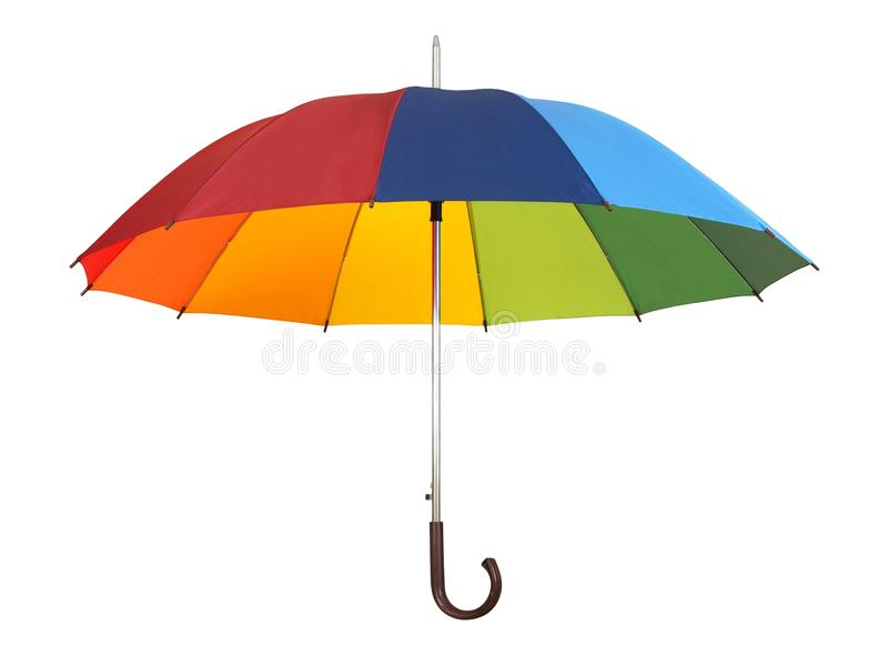 Rainbow umbrella on white royalty free stock images
