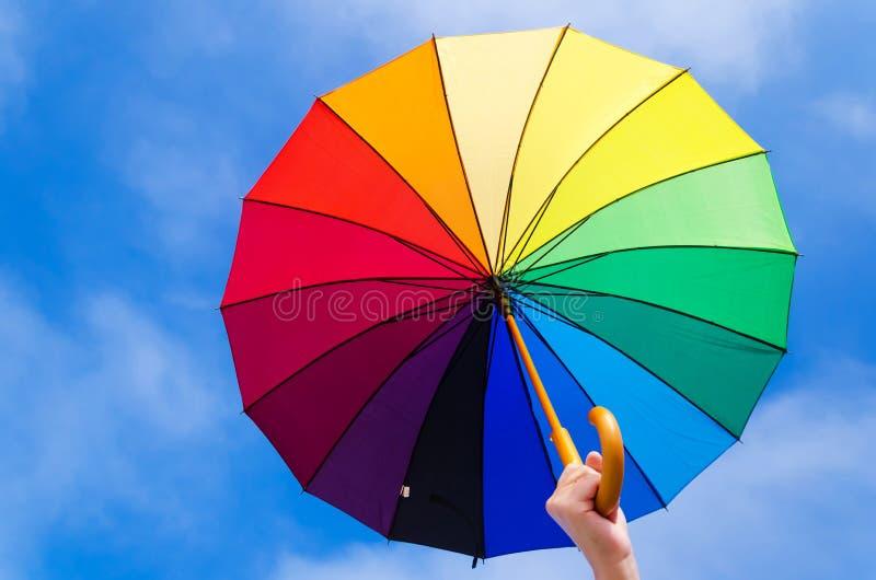 Rainbow Umbrella S Background Stock Photo