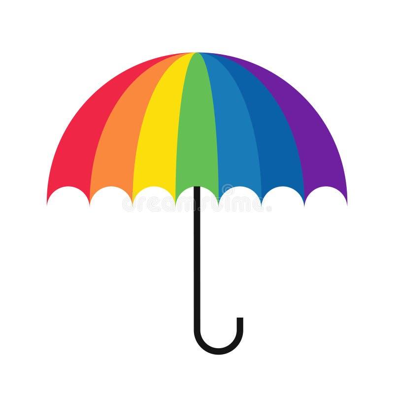Rainbow umbrella simple stock illustration