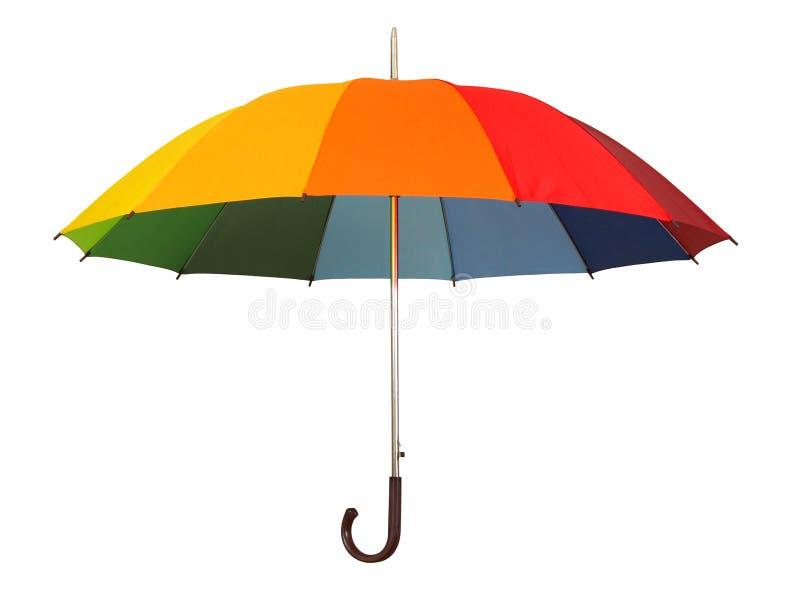Rainbow umbrella on white royalty free stock photography