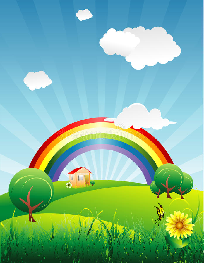Rainbow in un bello illustrazione vettoriale