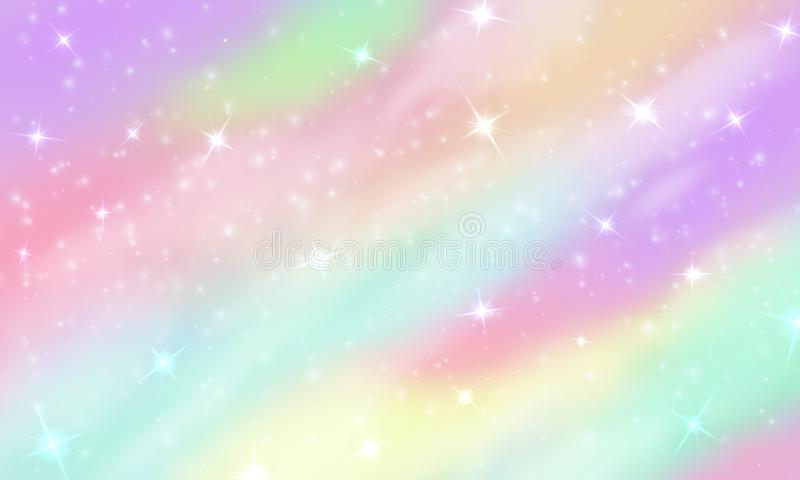 Rainbow unicorn background. Mermaid glittering galaxy in pastel colors with stars bokeh. Magic pink holographic vector stock illustration