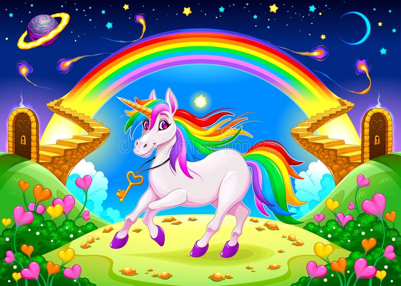Rainbow unicorn in a fantasy landscape with golden stairs. Vector illustration royalty free illustration